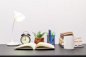 Books and stationeries on the desk