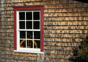 Ulverton, Quebec, Canada, October 11, 2019 - A wooden window photo