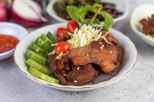 Fried pork salad photo