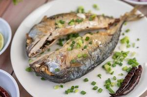 A plate of cooked mackerel