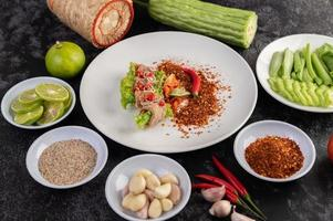 Spicy delicate lime pork salad