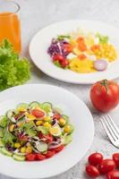Vegetable salad with boiled eggs