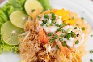 Plate of pad Thai shrimp