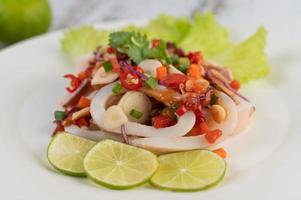 Spicy lemon squid dish