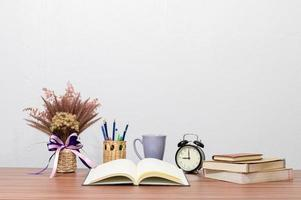 Stationery and books on the desk