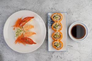 Fresh plated sushi