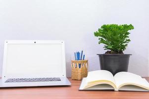 computadora portátil y flor en el escritorio
