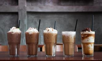 Row of iced coffees