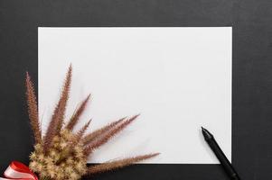 papel en blanco y bolígrafo sobre el escritorio