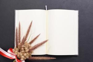 Blank notebook on the desk photo