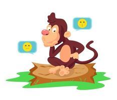 Cute monkey illustration vector