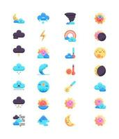 Set of weather icons, colorful style
