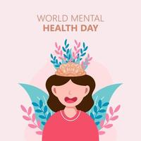 Hand drawn world mental health day poster