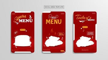 Plantillas de redes sociales para empresas alimentarias. vector