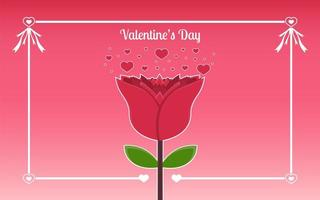 Rose Valentine's Day background with typography concept vector