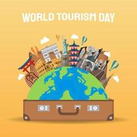 Hand drawn illustration of world tourism day concept. Vector Illustration