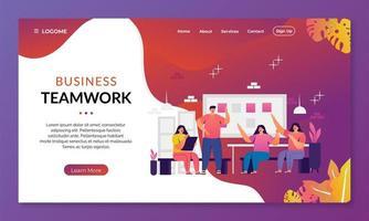 teamwork discussion landing page concept. vector illustration