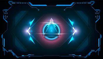Abstract futuristic triangle HUD with shining blue and pink light vector