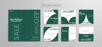 Plantillas de redes sociales para empresas de moda. vector