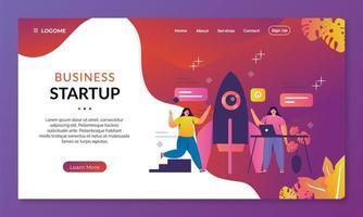 concepto de página de inicio de programas de inicio de negocios. ilustración vectorial vector