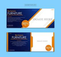 Set banner template for furniture business vector