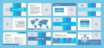 blue and white business presentation template vector