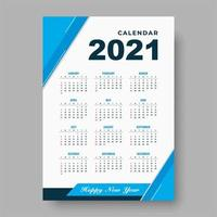 plantilla de diseño de calendario azul 2021 vector