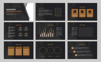 black and brown business presentation template vector