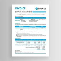 Company online invoice template vector