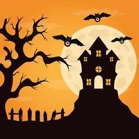 fondo de halloween de diseño plano vector