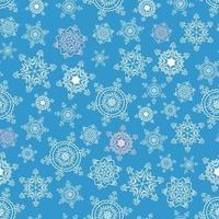 Winter blue seamless snowflakes pattern.