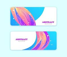 Set of abstract shapes banners full of color vector