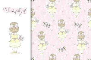 Cute little girl rear view with cat on hands card and seamless pattern. Spring style. Fabric Textile surface design vector
