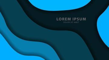 Diseño de fondo abstracto con formas de corte de papel azul. ilustración de onda vectorial