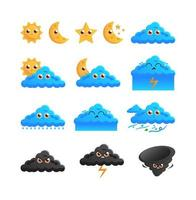 Set of weather cartoon characters