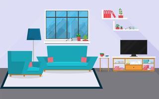 Salón interior con muebles y ventana. vector