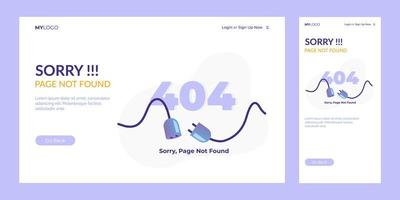 error 404 page not found landing page concept for mobile and pc vector