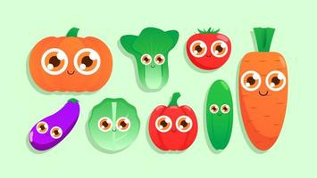 Cute vegetable chracter doodles