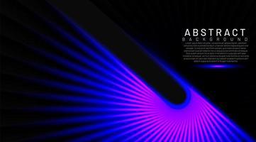 Las líneas abstractas brillan en azul en un movimiento brillante oscuro y retorcido. fondo de tecnología de vector abstracto