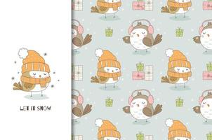 Cute cartoon bird in knitted hat and scarf. Christmas card and seamless background pattern. vector