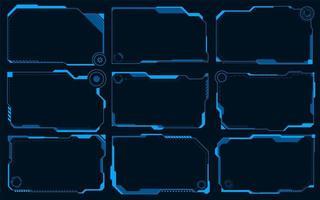 Futuristic HUD abstracts. Future blue monochome theme concept vector