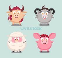 Cute cartoon illustration of livestock vector