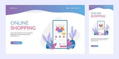 online shopping mobile application landing page concept vector