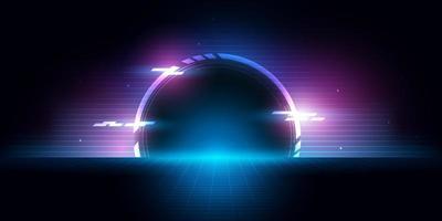 túnel de medio círculo futurista abstracto con luz brillante hacia el futuro. vector