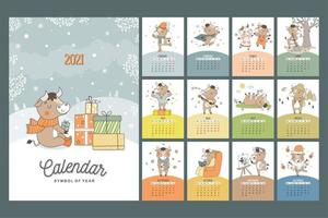 Hand drawn cartoon style calendar 2021 with bull symbol of the year. Monthly bulls for all seasons. Poster for print. vector