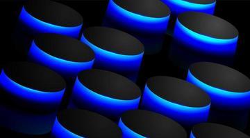 Fondo de vector abstracto con círculos negros y reflejos azules. diseño de perspectiva