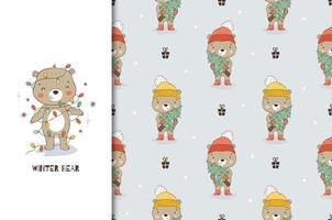 Cartoon teddy bear in Christmas decoration garlands. Card and seamless background pattern.
