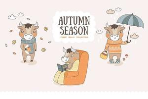 Cute cartoon bulls collection. Autumn season characters stickers. vector