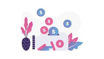 Ilustración de ahorro de dinero aislado en fondo blanco. vector