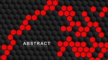 Geometric red and black hexagons. Surface polygon pattern with red hexagon, honeycomb. 3D design illustration technology